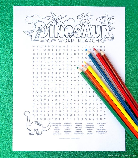 Free Printable Dinosaur Word Search Coloring Page