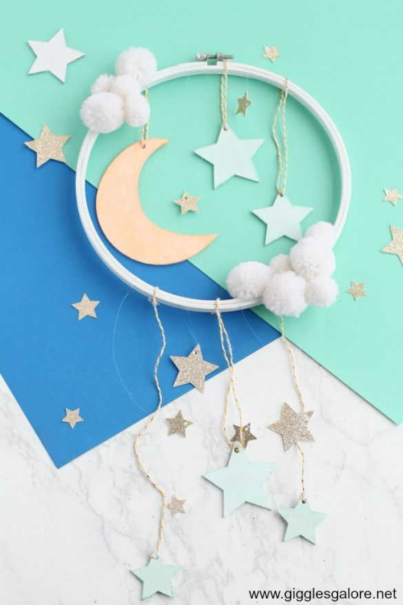DIY Glow-in-the-Dark Moon and Stars Mobile