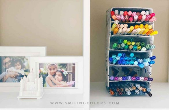 DIY marker organizer tutorial: Make it with just a cardboard box at home