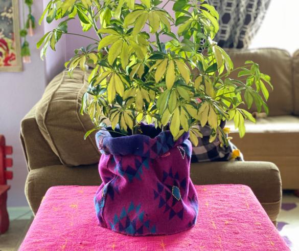 DIY Embroidered Basket Planter