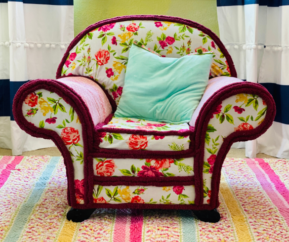 No Sew Upholstered Chair Makeover