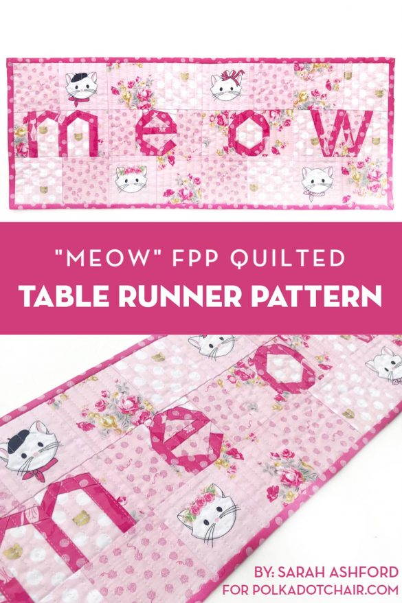 """Free """"MEOW"""" Cat FPP Quilt Pattern"""