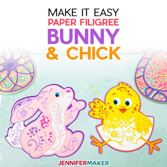 Paper Bunny & Chick for Spring: 3D Layered Filigree