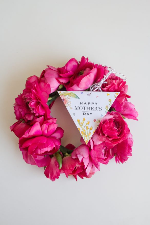 Mother's Day Card Printable with Fresh Flower Bracelets