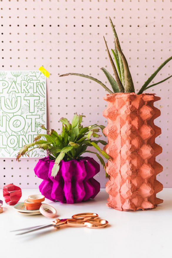 DIY Vases Using Recycled Egg Cartons