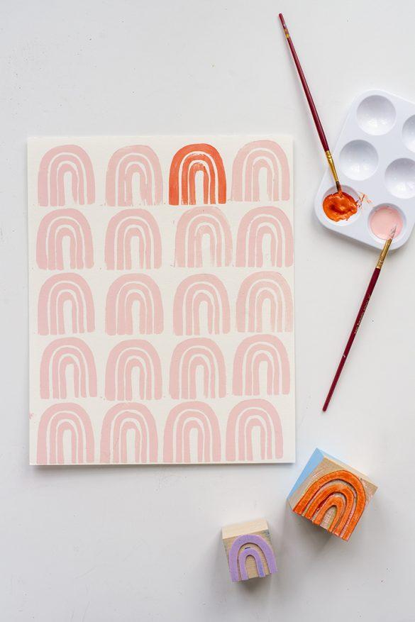DIY Rainbow Stamp Art Print