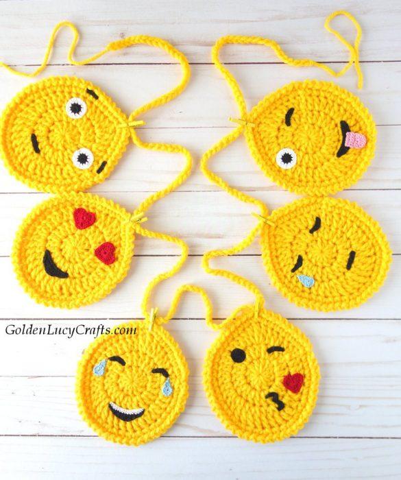 Crochet Easter Egg Emoji Garland