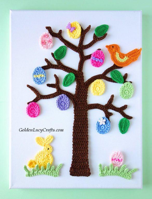 Easter Tree Crochet Wall Art
