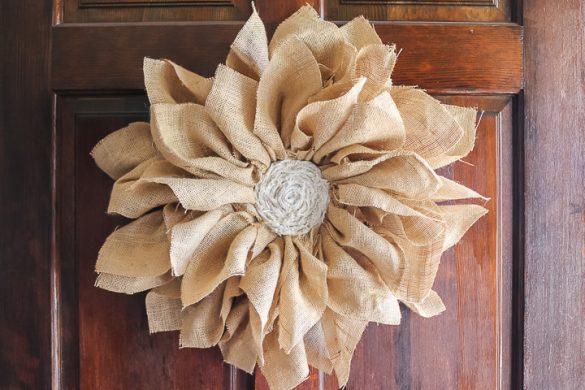 DIY Flower Wreath Made From Burlap