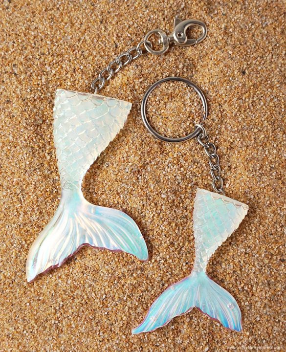 Holographic Mermaid Tail Resin Keychains