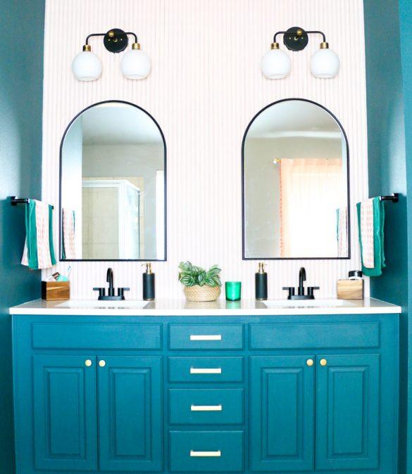 Moody Art Deco Master Bathroom Vanity