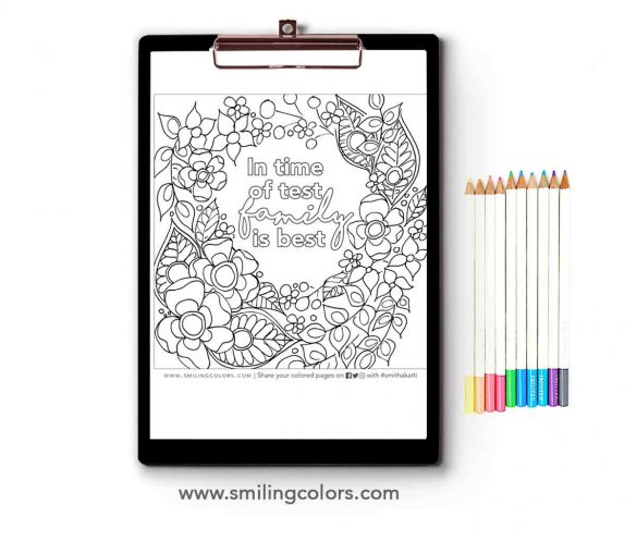 Family quote coloring page: Print it and enjoy coloring