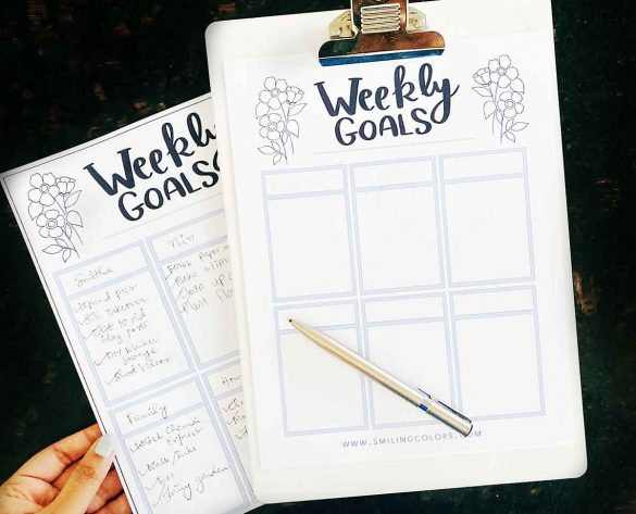 WEEKLY GOALS SHEET PRINTABLE: Write it down & achieve more