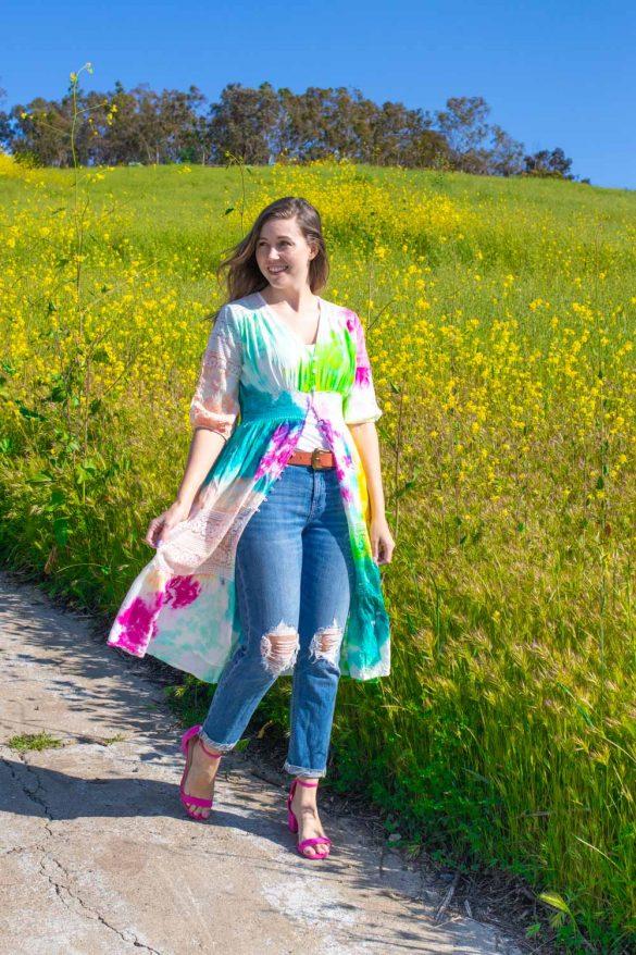 Colorful Tie Dye Kimono DIY for Summer