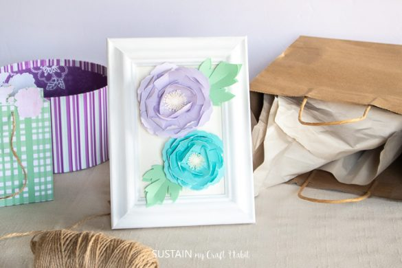 Framed Paper Peony Flowers with Cricut