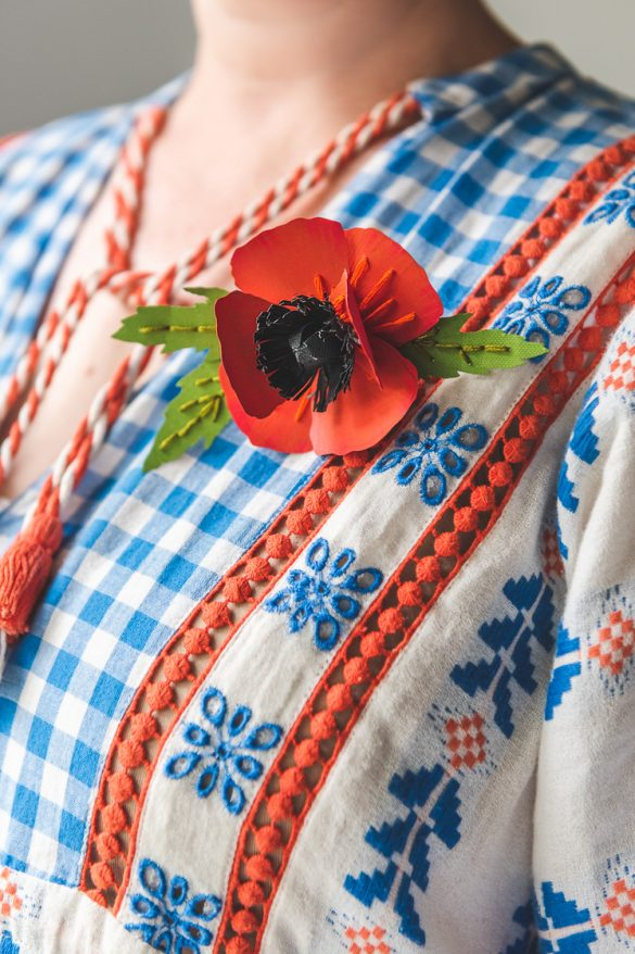 Memorial Day Paper Poppy Pin