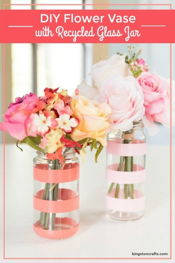 DIY Flower Vase with Recycled Glass Jar