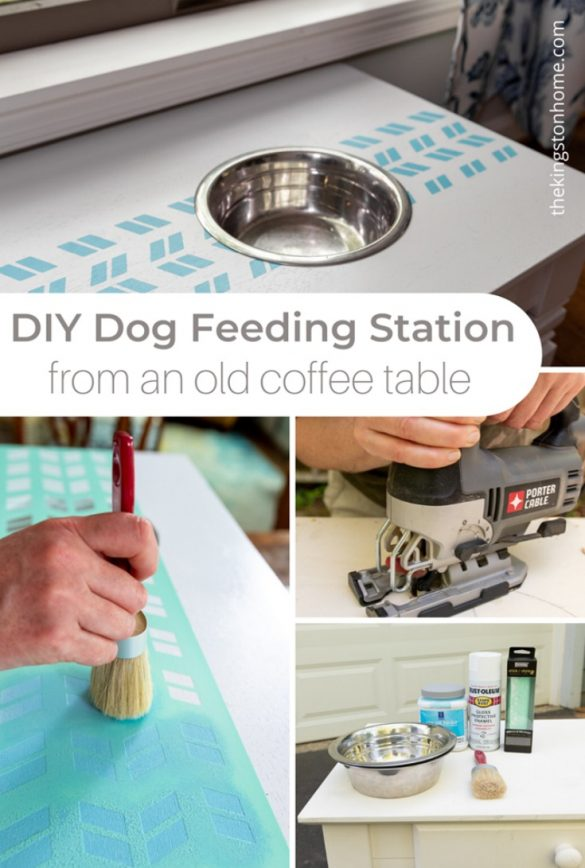 DIY Dog Feeding Station from an old coffee table