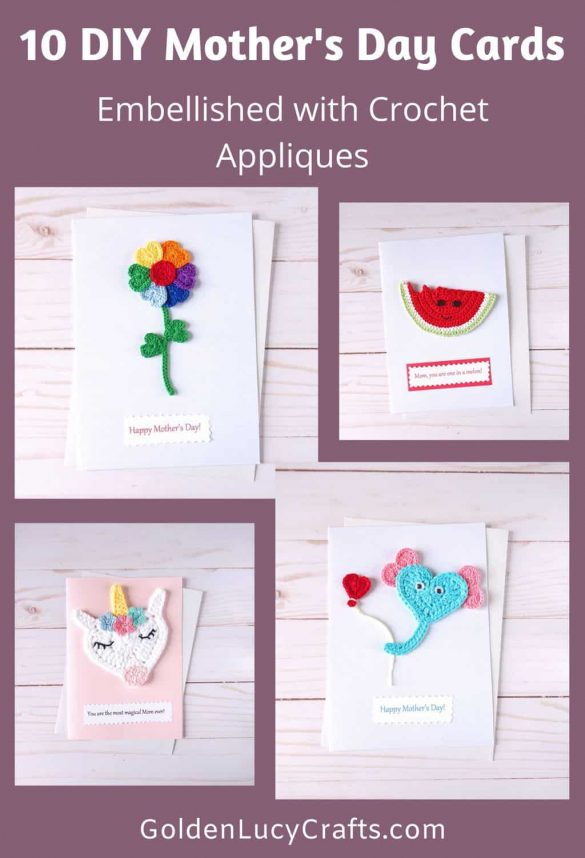 DIY Mother's Day Cards Embellished with Crochet Appliques