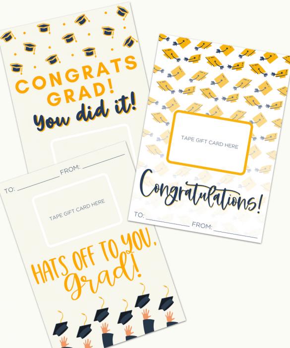 Free Graduation Gift Card Holders