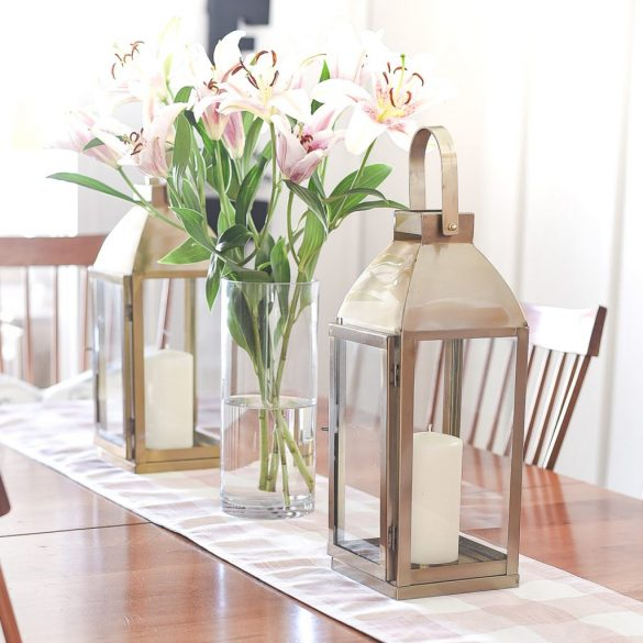 Spring Dining Room in Pink and Gray
