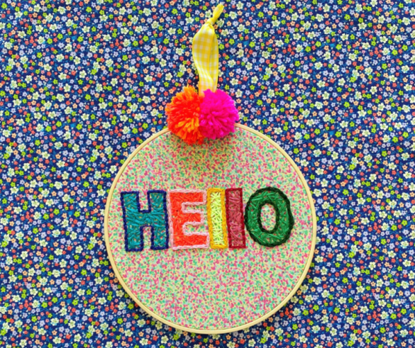 Embroidered Pom Pom Sign
