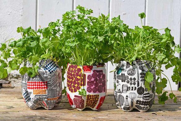How To Make Cool Marimekko Plastic Bottle Planters