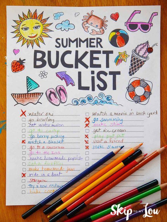 Summer Bucket List 100's of Ideas (Free Printable)