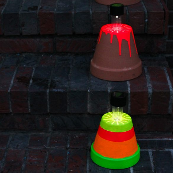 DIY Solar Lights with Neon Paint