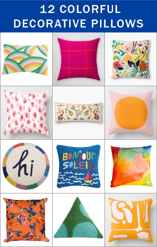 12 Colorful Decorative Pillows