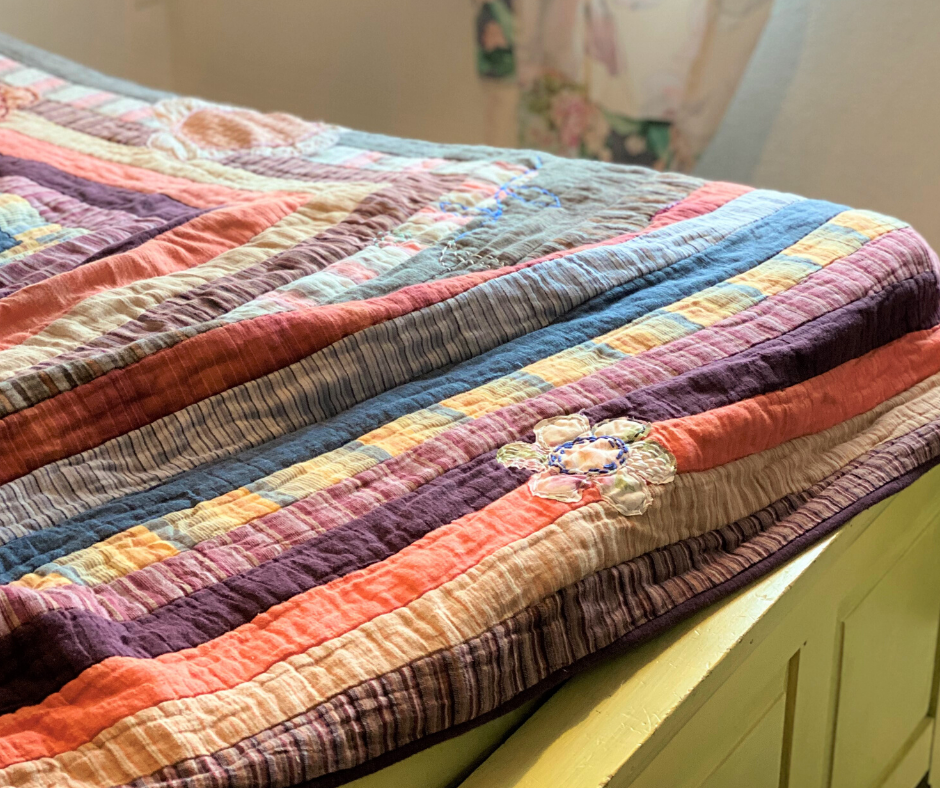 Embroidered Flower Quilt