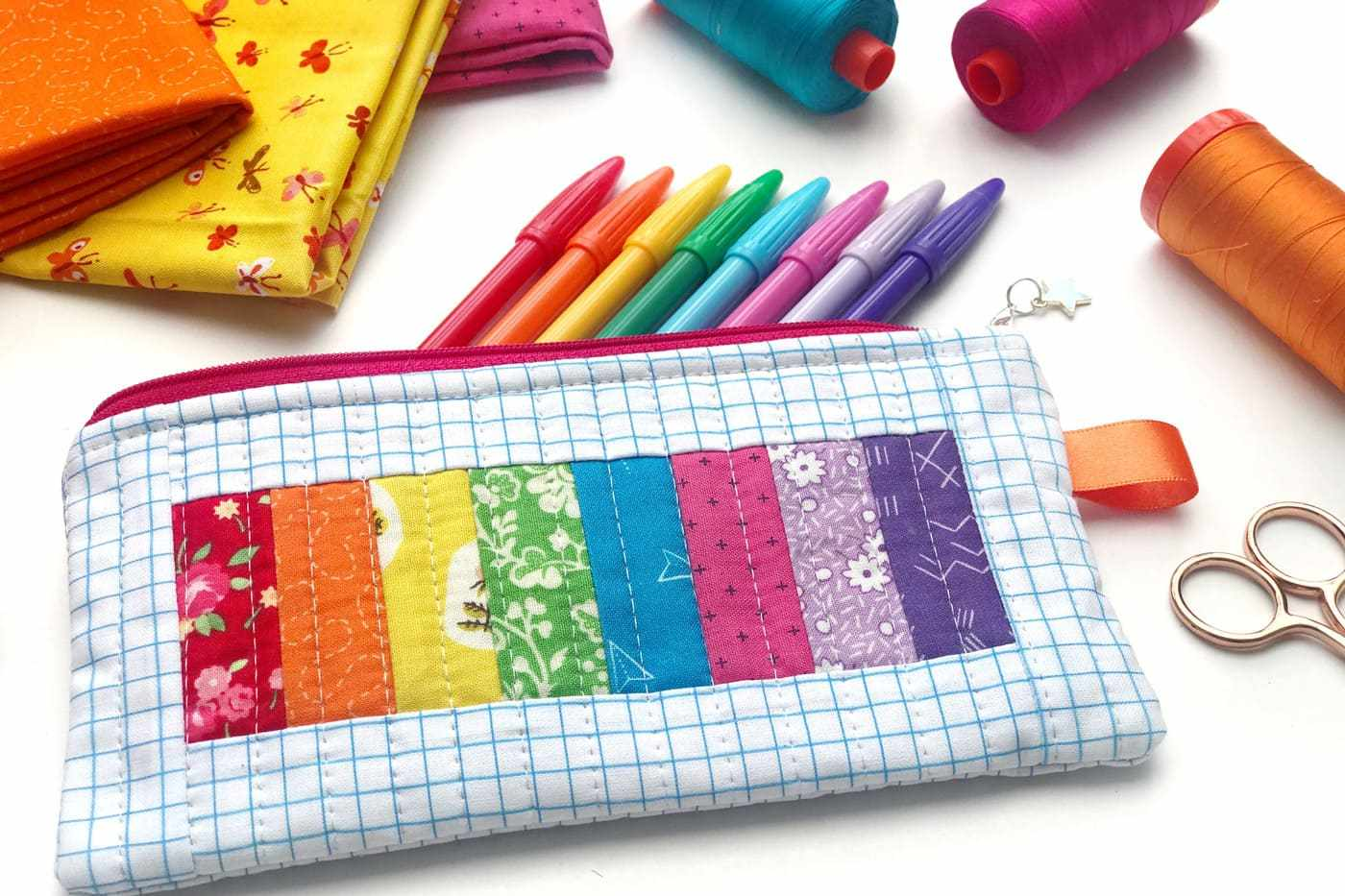 Rainbow Quilted Pencil Pouch Pattern
