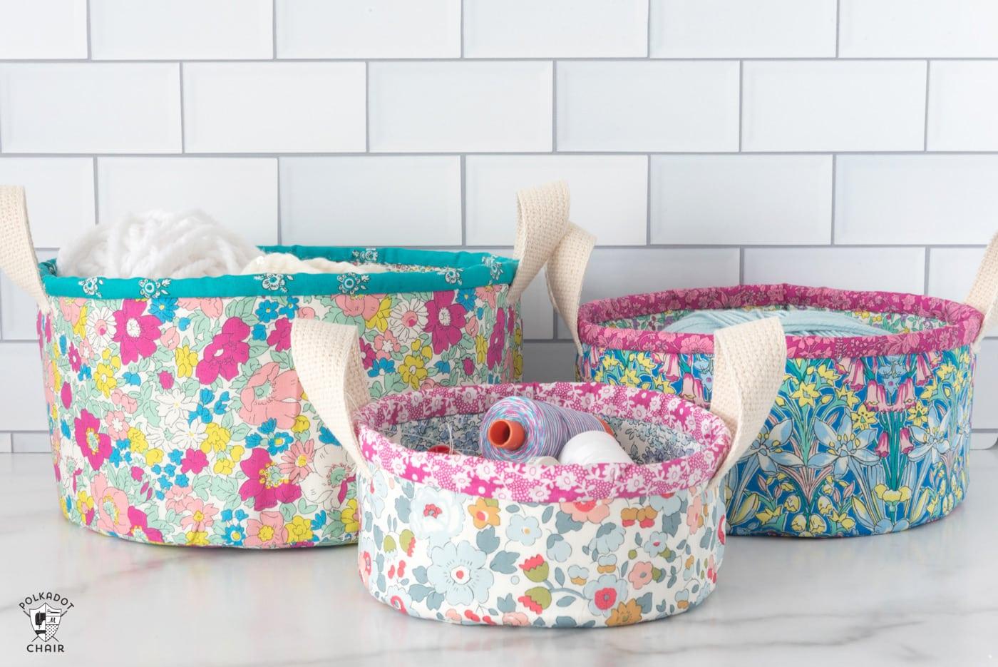 New Nesting Fabric Baskets Sewing Pattern