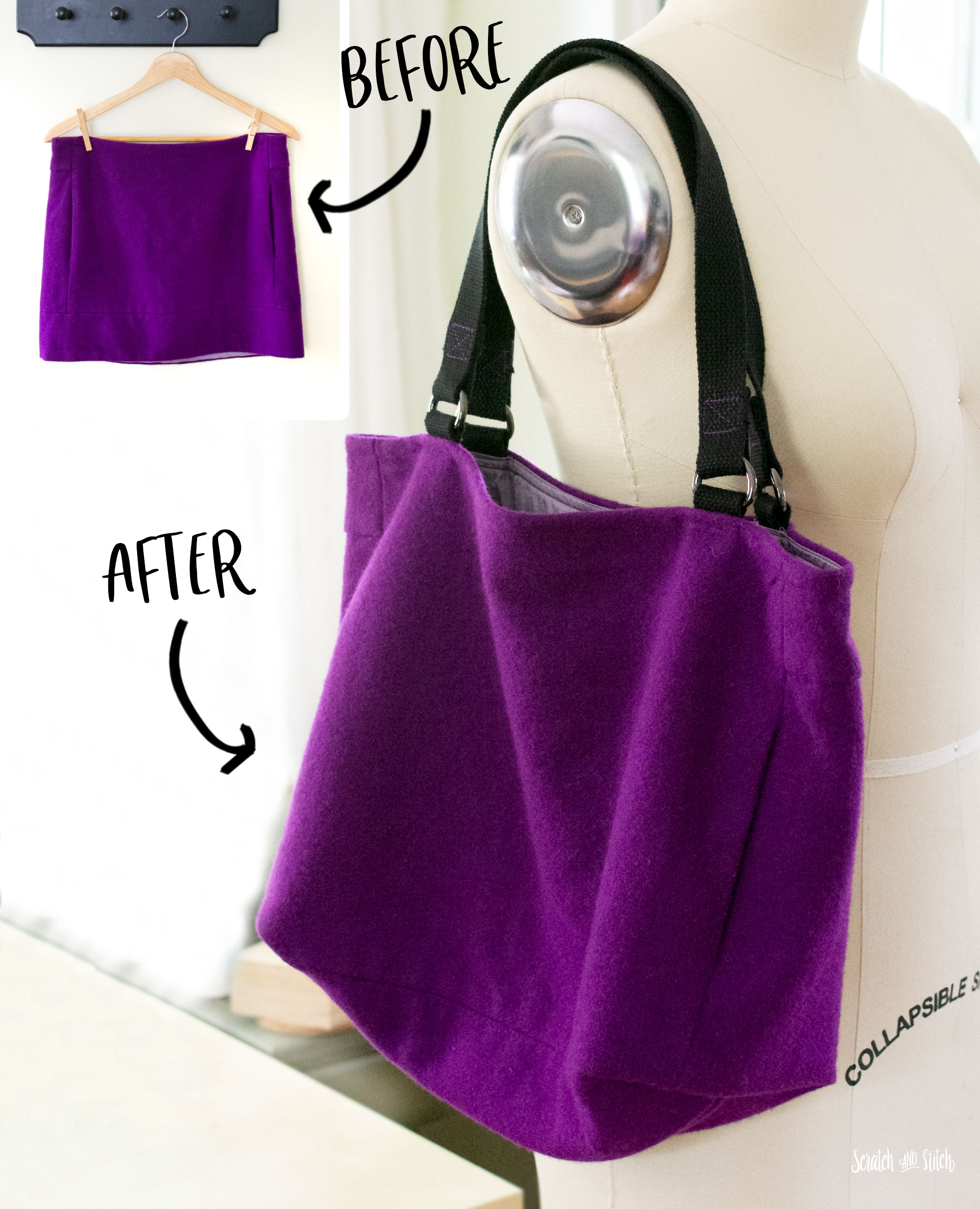 DIY Tote Bag from a Mini Skirt