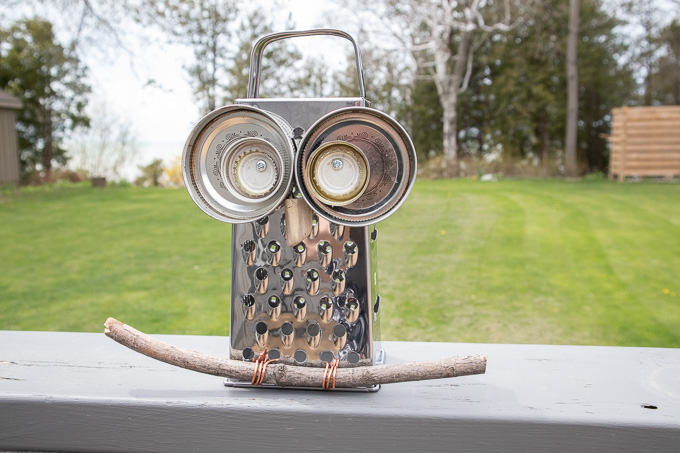 Owl Garden Decor With An Upcycled Cheese Grater
