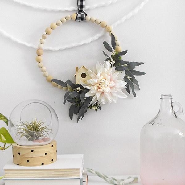 Boho Floral Wooden Wreath