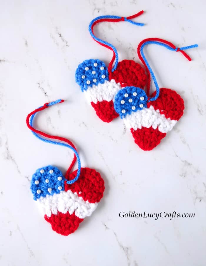 Crochet Patriotic Heart Ornament