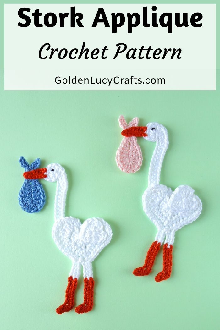 Crochet Stork Applique