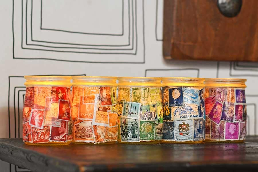 How To Make Postage Stamp Decoupage Jar Tea Lights