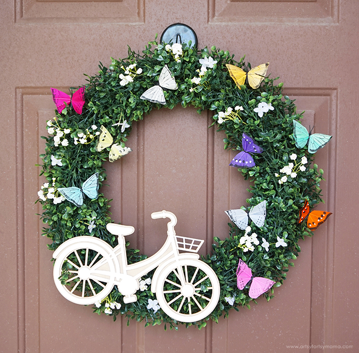 DIY Bicycle & Butterfly Wreath