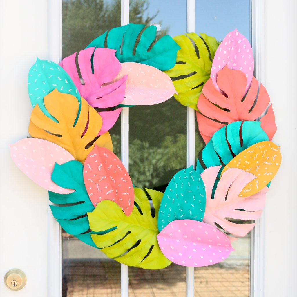 DIY Colorful Palm Leaf Wreath