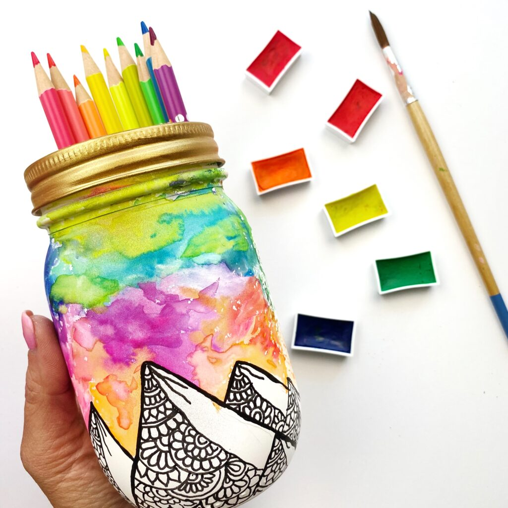 How to Paint Watercolors on Mason Jars