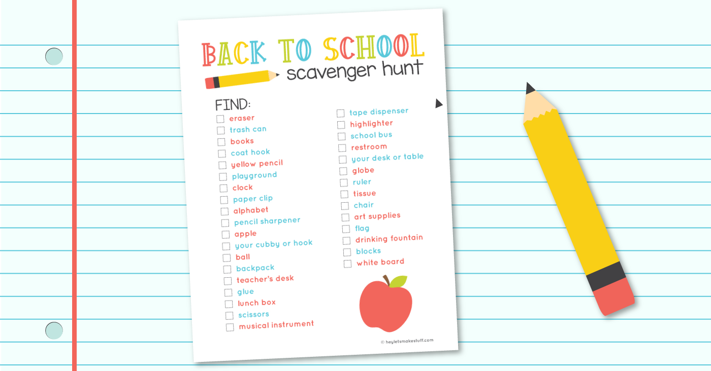 Free Printable School Scavenger Hunt for the Classroom