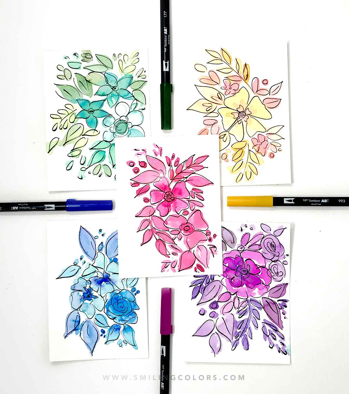 Monochromatic Flower Painting Tutorial + VIDEO