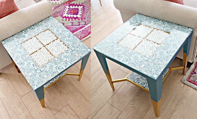 DIY Peel and Stick Tiles Table Makeover