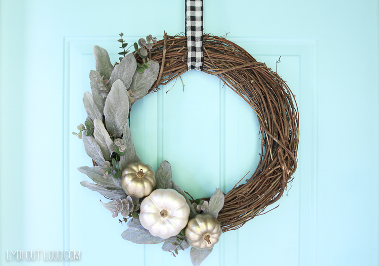 How to Make a Metallic Pumpkin Wreath