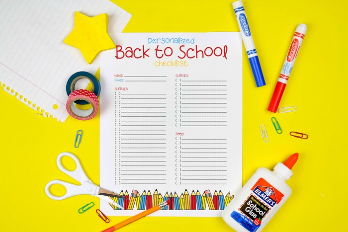 PRINTABLE CHECKLIST FOR SCHOOL SHOPPING