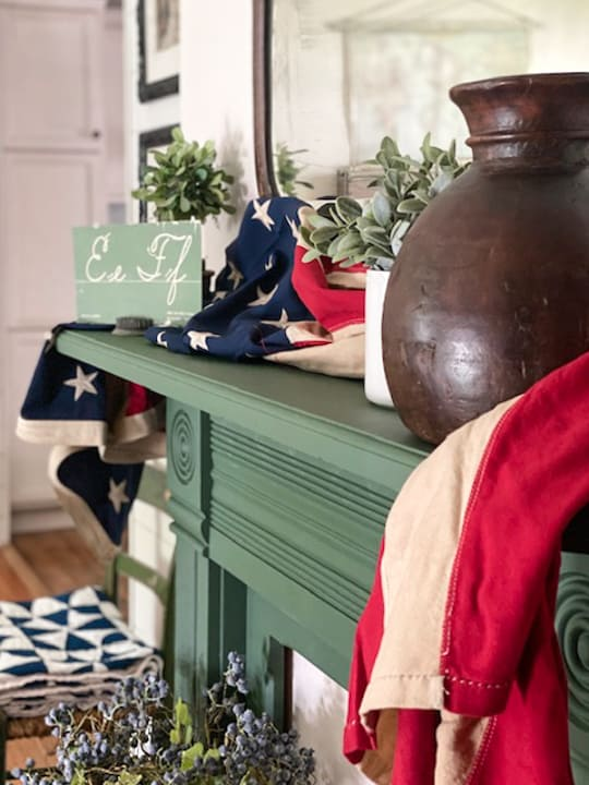 4th Of July Mantel With A Vintage Flag
