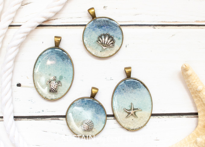 Beach Themed Jewelry Pendants with Resin
