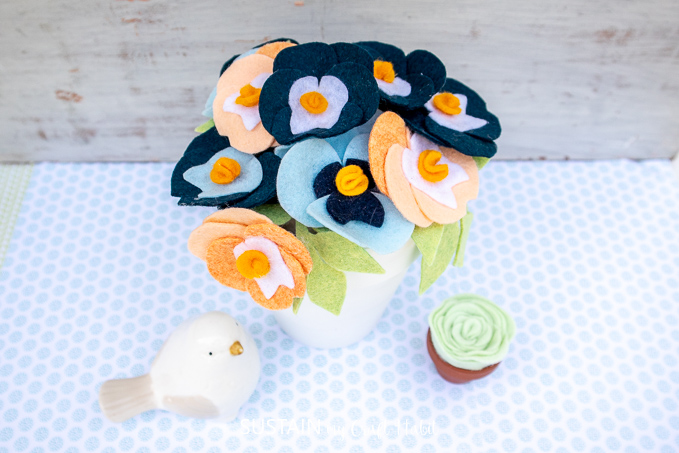 Pretty Potted Felt Pansy Flowers